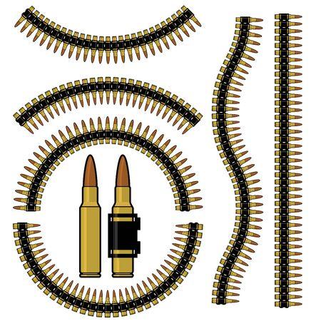 Proiettile e la cartuccia mitragliatrice cintura in diverse forme