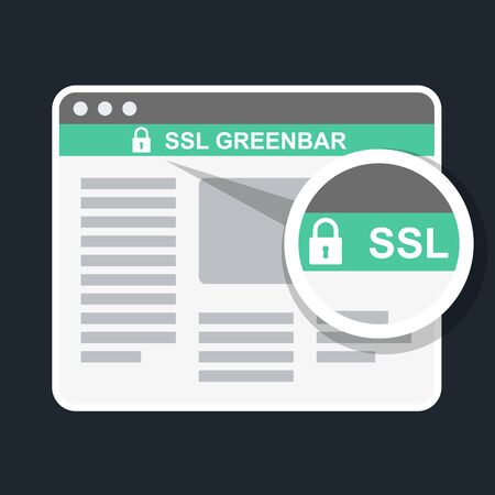 Secure online payment icon - ssl green bar in browser Vector Illustration