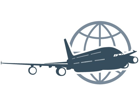 airliner: Travel around the globe - flying airliner Illustration