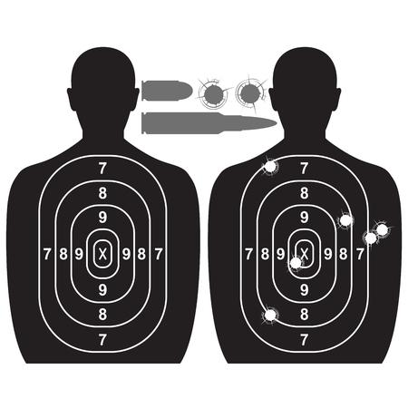 bullethole: Human target, bullet holes and cartridge case