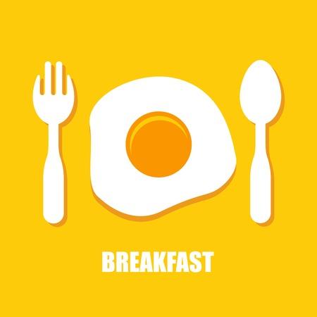 huevos fritos: huevos fritos, cuchara y tenedor - desayuno Vectores