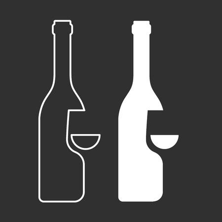 sampling: Wine sampling icon - bottle and glass silhouette