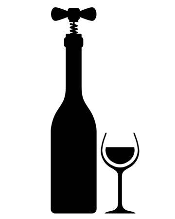 sampling: Wine bottle with corkscrew - vintage wine sampling