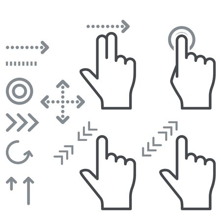 touch screen: Touch screen gesture hand signs icons
