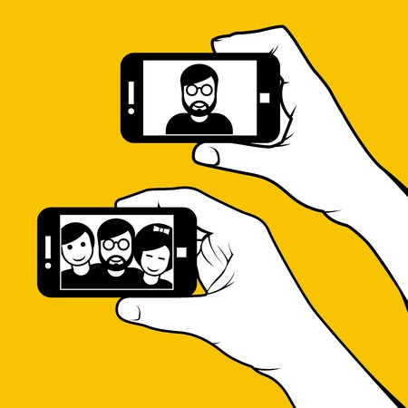 smartphone hand: Selfie with friends - hand with smartphone