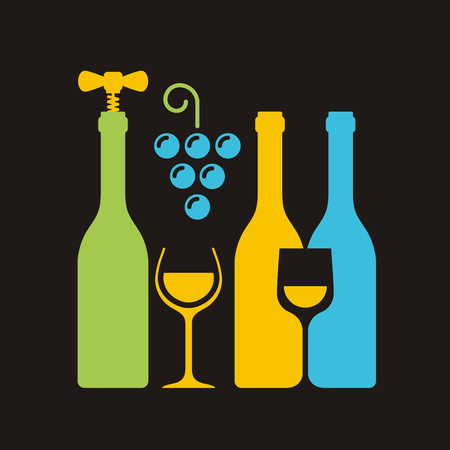 sampling: Row of wine bottles with corkscrew, wineglass and bunch of grapes