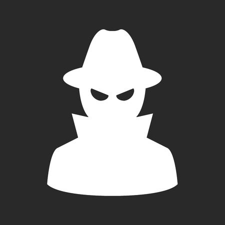 undercover agent: Undercover agent - private detective or spy in hat and coat Illustration