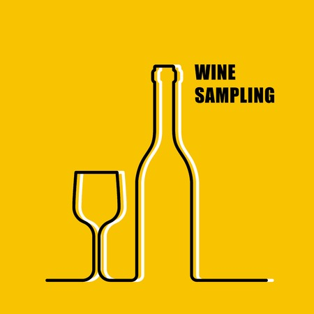 contour: Wine bottle and wineglass contour - wine sampling Illustration