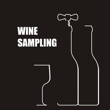 sampling: Wine bottle with corkscrew - wine sampling
