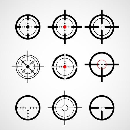 gun sight: Crosshair (gun sight), target icons set Illustration