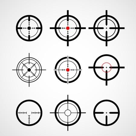Crosshair (gun sight), target icons set Stock Illustratie