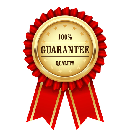 quality guarantee: Award rosette with gold medal and red ribbon - quality guarantee