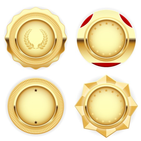 Golden medal and emblem (insignia) - cogged and round