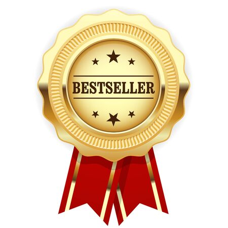 Golden medal Bestseller with red ribbon 向量圖像