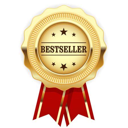 Golden medal Bestseller with red ribbon Stock Illustratie