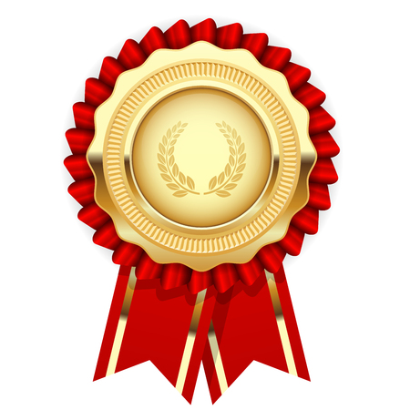 honour: Blank award template - rosette with golden medal