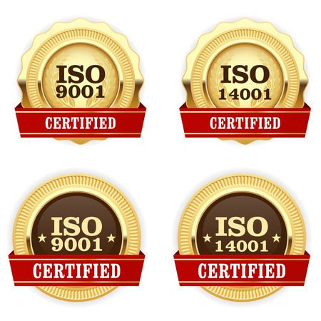 Golden medals ISO 9001 certified - quality standard badge