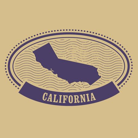ca: Oval stamp with California silhouette - CA state label