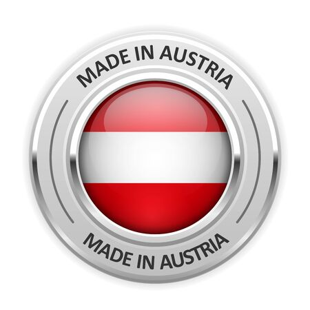 silver medal: Silver medal Made in Austria with flag