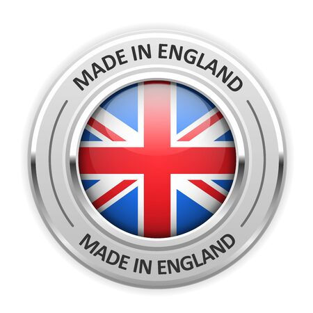 silver medal: Silver medal Made in England with flag Illustration