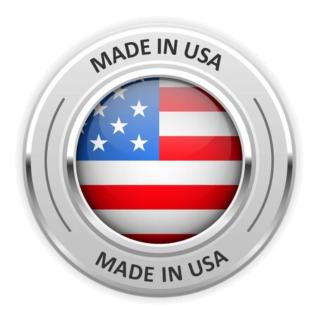 silver medal: Silver medal Made in USA with flag
