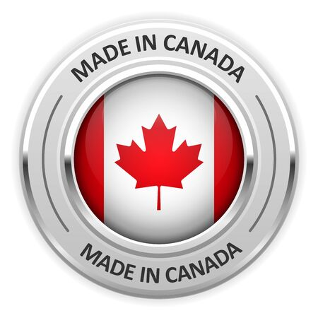 silver medal: Silver medal Made in Canada with flag