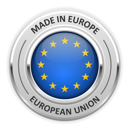 silver medal: Silver medal Made in European Union (EU) with flag