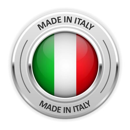 silver medal: Silver medal Made in Italy with flag Illustration