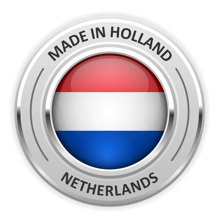silver medal: Silver medal Made in Netherlands with flag