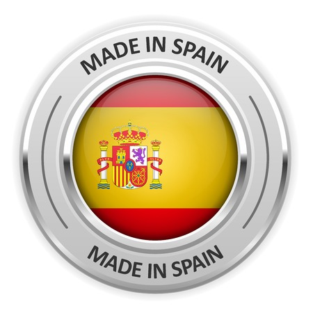 made in spain: Silver medal Made in Spain with flag Illustration