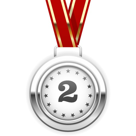 silver medal: Winner silver medal on ribbon - second place