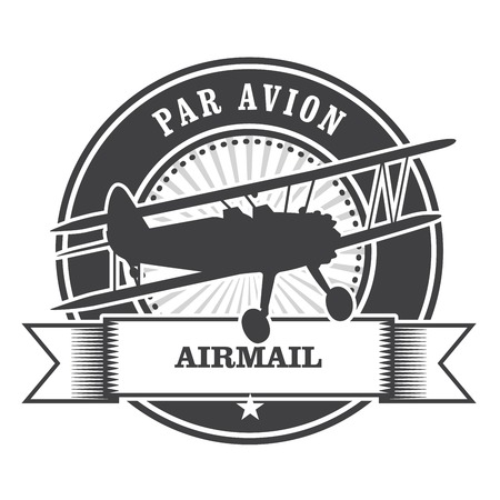 avion: Airmail stamp with biplane - per avion