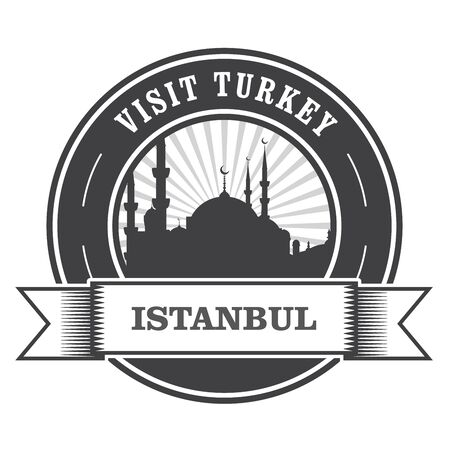 visit: Istanbul stamp with silhouette of mosque - visit Turkey