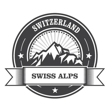 swiss alps: Alps Mountains stamp - Switzerland label with ribbon