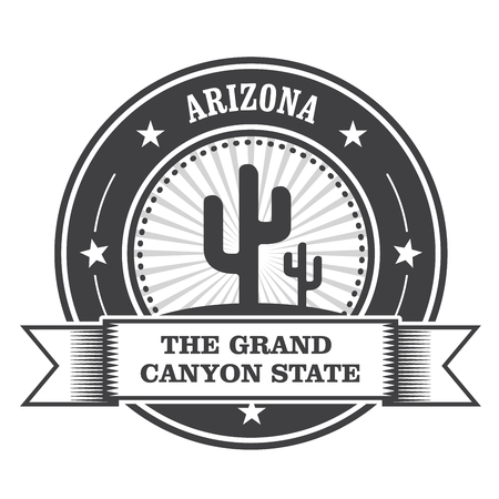 grand canyon: Arizona state round stamp with cactus and ribbon Illustration