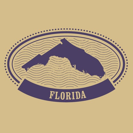 fl: Oval stamp with Florida state silhouette - FL label