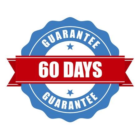 60: 60 days guarantee stamp - warranty sign Illustration