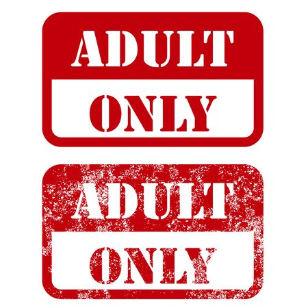 only adult: Adult only sign - shabby stamp