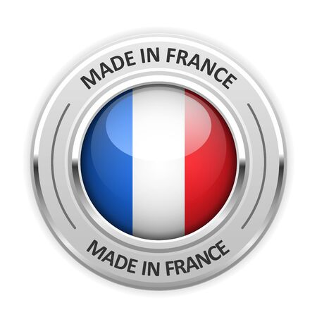 silver medal: Silver medal Made in France with flag