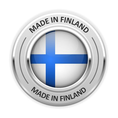 made in finland: Silver medal Made in Finland with flag Illustration