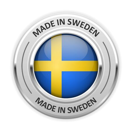 silver medal: Silver medal Made in Sweden with flag