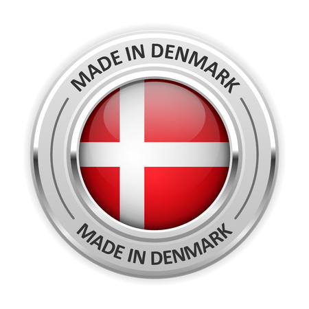 silver medal: Silver medal Made in Denmark with flag