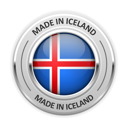 iceland: Silver medal Made in Iceland with flag