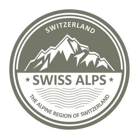 swiss alps: Snowbound Swiss Alps emblem - Switzerland stamp Illustration