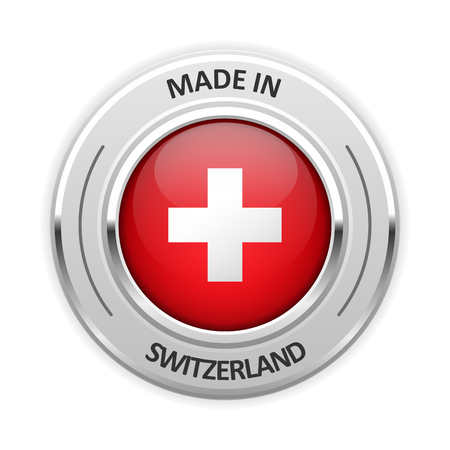 silver medal: Silver medal Made in Switzerland with flag Illustration