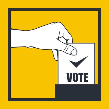 bulletin: Election - hand throws vote bulletin into box Illustration