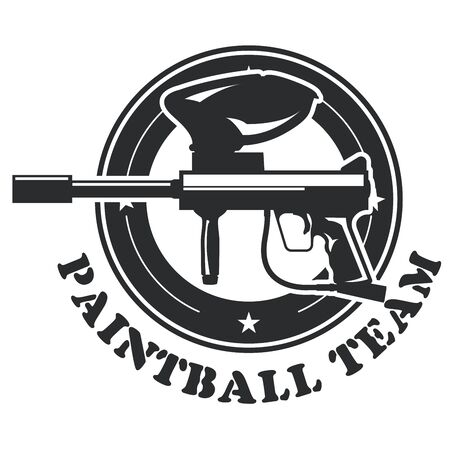 Paintball emblem with marker - paintball gun