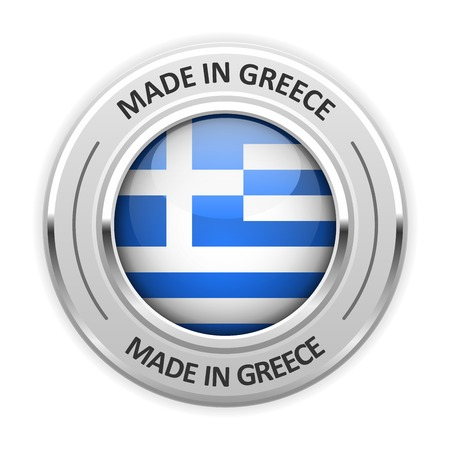made in greece: Silver medal Made in Greece with flag Illustration