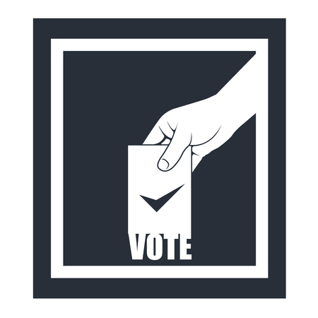 voting: Election box and hand with voting bulletin
