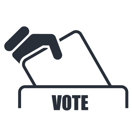 bulletin: Hand with voting bulletin icon - election box